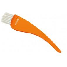 Кисть д/окр DEWAL прозрачная с белой щетиной узкая оранжевая T-12orange