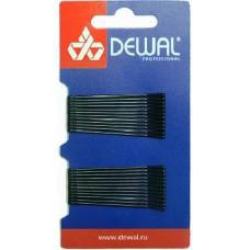 Невидимки DEWAL прямые,черные 50 мм. в открытом пластиковом блистере SLN50P-1/24