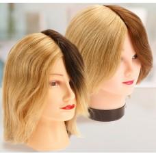 Голова учебная DEWAL 4 цвета натуральные волосы 20-25 см